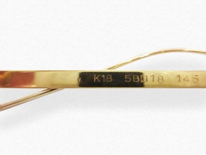 金縁眼鏡 金種 刻印