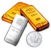 金プラチナのインゴットとコイン